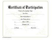Yellow Flowers Participation Certificate