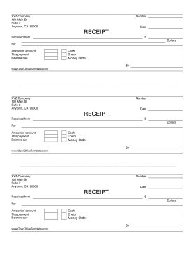 3-up Payment Receipts LibreOffice Template