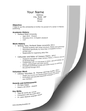 Academic Scholarship Resume LibreOffice Template