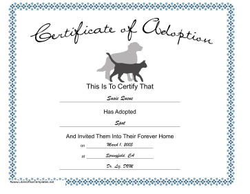 Adoption Certificate Pets LibreOffice Template