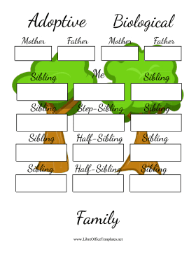 Adoptive And Biological Family Tree LibreOffice Template
