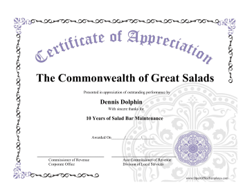 Certificate of Appreciation LibreOffice Template
