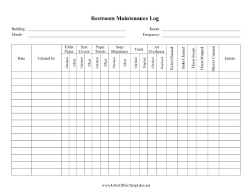 Bathroom Cleaning Checklist LibreOffice Template