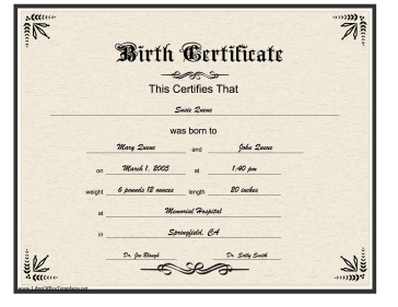 Birth certificate gothic lettering for Novelty birth certificate template