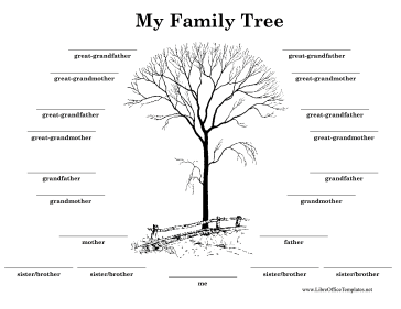 Black-and-White Family Tree LibreOffice Template