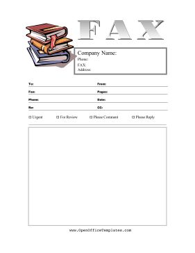 Books Fax Cover Sheet LibreOffice Template
