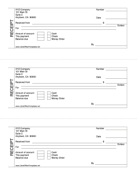 Cash Receipt 3-per-Page LibreOffice Template