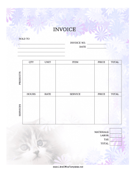 Cat Invoice LibreOffice Template