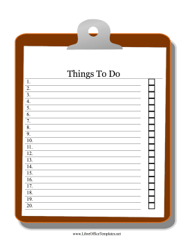 Clipboard To Do List LibreOffice Template