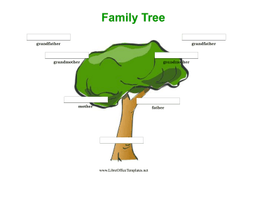 Colorful 3 Generation Family Tree LibreOffice Template