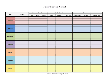 colorful 7 day exercise log