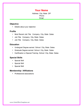 Colorful Chronological Resume LibreOffice Template