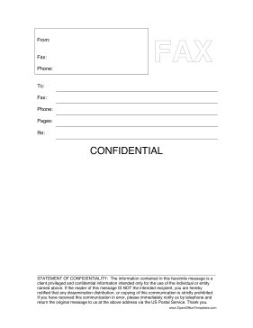 Confidential Fax Cover Sheet LibreOffice Template