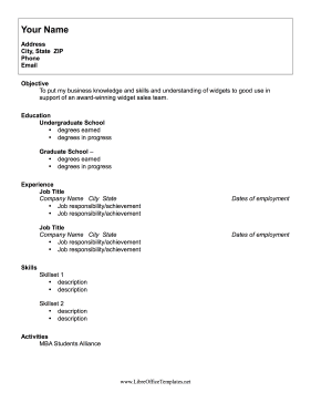 Education Resume LibreOffice Template