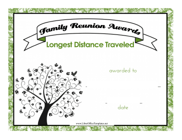 Family Reunion Travel Award LibreOffice Template