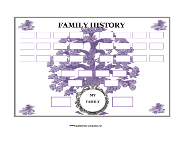 Family Tree with Purple Flowers LibreOffice Template