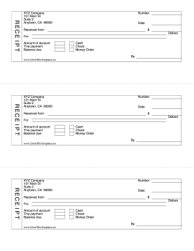 Fillable Cash Receipt Form LibreOffice Template