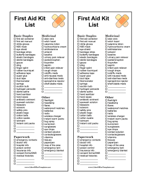 First Aid Inventory Checklist LibreOffice Template