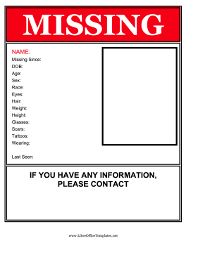 Flyer For Missing Person LibreOffice Template
