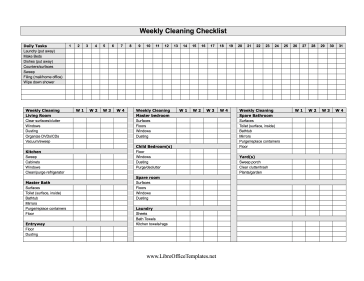 Four-Week Cleaning Checklist LibreOffice Template