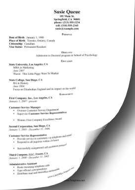 Graduate Program CV LibreOffice Template