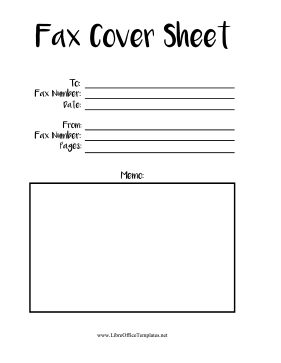 Handwriting Font Fax Cover Sheet LibreOffice Template