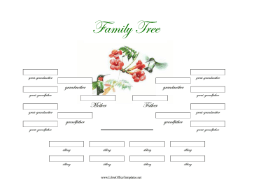 Illustrated 4-Generation Family Tree Siblings LibreOffice Template