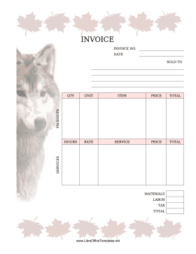Invoice With Wolf LibreOffice Template