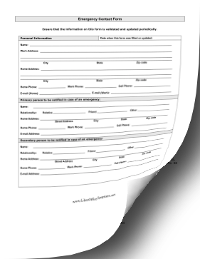 Medical Emergency Contact LibreOffice Template