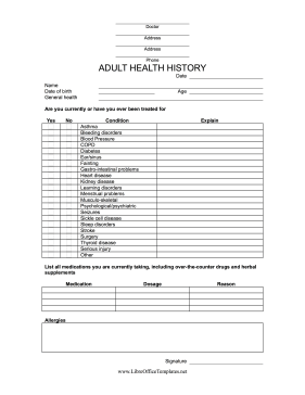 Medical History Form LibreOffice Template