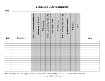 Medicine Dosage Tracker LibreOffice Template