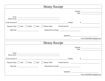 Money Cash Receipts LibreOffice Template