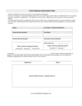 Payroll Direct Deposit LibreOffice Template