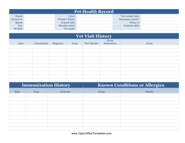 Pet Health Record LibreOffice Template
