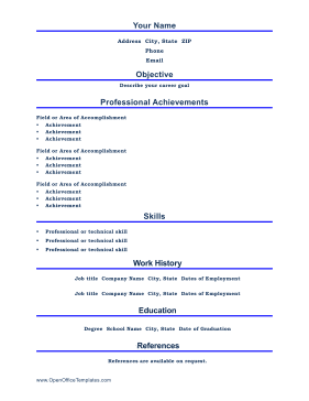 Professional Resume Letter LibreOffice Template