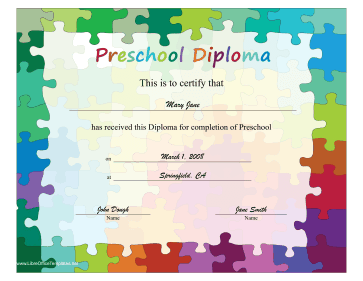Puzzle Piece Diploma LibreOffice Template