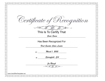 Recognition Award LibreOffice Template