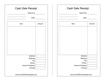 Sales Receipt LibreOffice Template  Cash Sale Receipt