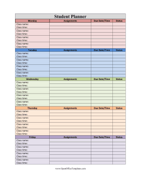 Student Planner LibreOffice Template