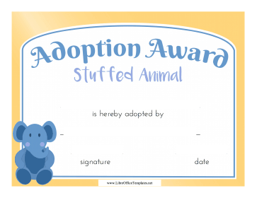 Stuffed Animal Adoption Certificate LibreOffice Template