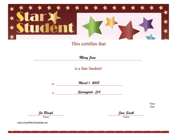 Top Pupil Certificate LibreOffice Template
