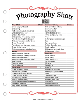 Wedding Planner Photo List LibreOffice Template