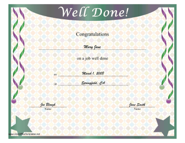 Well Done Certificate Green Purple Stars LibreOffice Template