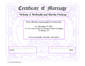 Certificate Of Marriage LibreOffice Template