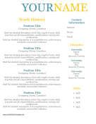 Colorful Resume No Dates LibreOffice Template