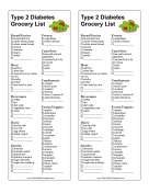 Shopping List Type 2 Diabetes LibreOffice Template